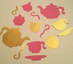Tea Party Set confetti in MUST HAVE VELLUM paper metallic pearlesque birthday party invitations table decor princess Disney Alice in Wonderland