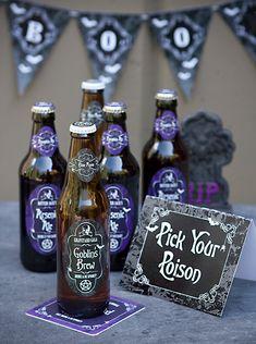 Spook Halloween Party + Free Printables #recipe #dip #homemade #diy #craft #beerlabels #winelabels #coasters #printables