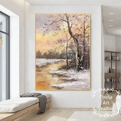 River Painting, Painting Snow, Large Painting, Oil Painting On Canvas, Painting Frames, Canvas Paintings, Snow Scenes, Winter Scenes, Framed Leaves