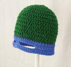 TMNT Mask Hat in Blue, Green Crochet Ninja Turtle Beanie, send size