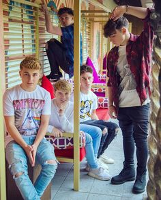 Rye is in your average boyband pose, Mikey is in the kid pose, Jack is.idk, Andy is sitting like a proud parent, and then there's Brooklyn sittin' all cute ♥
