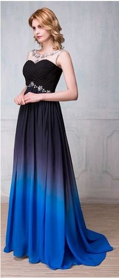 Long Pretty Modest Beaded Charming Gradient Chiffon Prom Dresses,Navy Blue And Royal Blue Prom Gowns,High Low Prom Dress