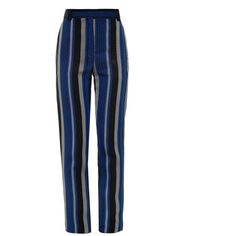 Proenza Schouler Striped sponge crepe trousers (€270) ❤ liked on Polyvore featuring pants, bottoms, trousers, calças, pantaloni, black blue, straight leg pants, striped trousers, proenza schouler and crepe pants