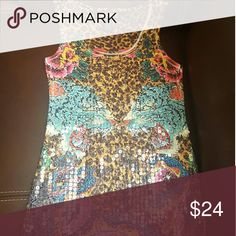 New Cheatah Print & Sequence Tank Top Size Small New Size Small Front sequence Say What? Tops