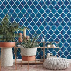 Blue Pattern Removable Wallpaper, Moroccan Tile Wall Decal, Dark Geometric Wall Cling, Bathroom Home Decor, Vintage Shapes Wall Mural - Smooth Wall Decal / 1 roll: 24W x 132H