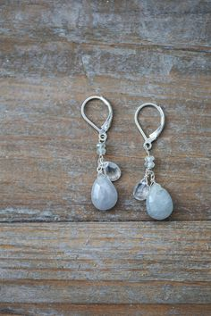 Grey Sapphire and Aquamarine Earrings, Dangling Grey Earrings, Grey and Silver Jewelry, Pale Mixed Stone Jewelry, Bridal Earrings, Wedding