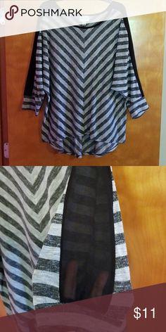 f238b6b4cb Top Ava   Viv gray and black chevron high-low top with sheer black on