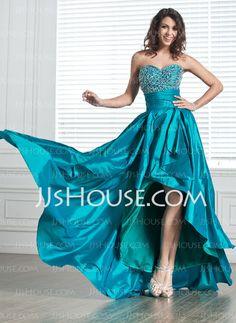 Homecoming Dresses - $135.99 - A-Line/Princess Sweetheart Asymmetrical Taffeta Homecoming Dresses With Ruffle  Beading (022004619) http://jjshouse.com/A-line-Princess-Sweetheart-Asymmetrical-Taffeta-Homecoming-Dresses-With-Ruffle--Beading-022004619-g4619