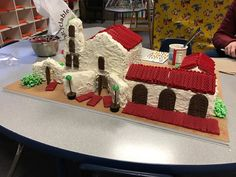 San Diego Mission de Alcala 4th grade project. Made with rice krispies, graham cracker and red vine roof, and corn syrup/popcorn bushes.