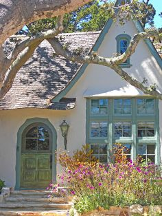 """Tiny interior: Carmel by the Sea - Hugh Comstock's Architectural Signature - Inside """"Hugh W. Comstock Residence formerly known as Obers"""" Fairytale Cottage, Storybook Cottage, Cottage Interiors, Cottage Homes, Rose Cottage, Cottage Style, Wine In The Woods, Carmel California, Carmel By The Sea"""