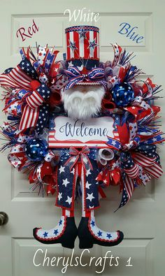 From MoodyDoosWreaths on Etsy: Front Door Wreaths, Fall Wreath, Halloween Wreath Halloween Table Decorations, Patriotic Decorations, Halloween Party Decor, Halloween Door, Patriotic Wreath, 4th Of July Wreath, Patriotic Crafts, Halloween Floral Arrangements, Memorial Day Wreaths