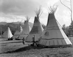 These elaborate teepees stood out against the rolling landscape in the Assiniboine camp, one of the many areas Pollard captured