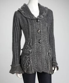 Type 2 color and comfort, ruffly. Gray Beaded Cardigan