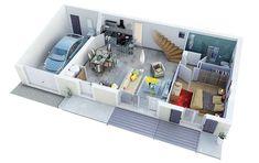mod les et plans de maisons mod le tage ligne citadine constructions demeures c te argent. Black Bedroom Furniture Sets. Home Design Ideas