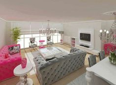 Woman Cave Living Area Lady Pink Sofa