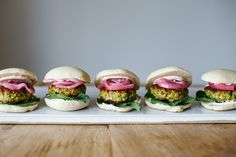 Falafel sliders with pickled onion and spicy yogurt
