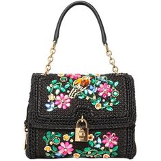 DOLCE & GABBANA Medium Dolce Embellished Top Handle Bag - Black ($2,236) ❤ liked on Polyvore featuring bags, handbags, purses, black, handle bag, hand bags, dolce gabbana handbags, man bag and metal purse