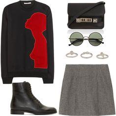 gray skirt by beautifulnoice on Polyvore featuring Christopher Kane, Marc Jacobs, Jil Sander Navy, Proenza Schouler, Topshop, Ralph Lauren, women's clothing, women's fashion, women and female