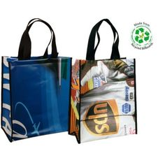 Tote bags made from clients old billboards.