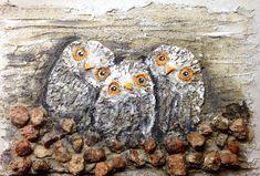 #stone #owls #owlsbaby #kivi #pöllönpoikaset #triple #plasterpainting #sarihakala #art from #suomi #finland #kouvola