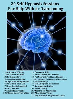 20 SELF-HYPNOSIS Sessions To Help You IMPROVE YOURSELF! It's all in your mind, and all you need to do is change how you think to have a BETTER LIFE. Includes... Fitness Class Motivation and Weight Loss Motivation! For More Visit http://www.thanks2net.com/20%20Self-Hypnosis%20Sessions%20To%20Help%20You-Info.html
