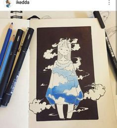 Sky~ I miss water color 😓 Inktober fifth entry. Sky~ I miss water color 😓 Inktober fifth entry. Pretty Art, Cute Art, Arte Sketchbook, Marker Art, Kawaii Art, Aesthetic Art, Cartoon Art, Cute Drawings, Art Sketches