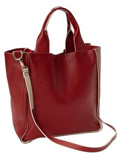red leather tote...