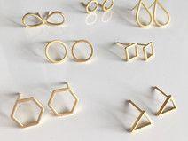 Geometrische Ohrstecker Gold Ohrringe vergoldet
