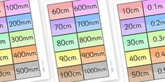 Equivalents Matching Cards - mm, cm, m, km plus lots of other great printable resources. Measurement Activities, Math Measurement, Ks2 Maths, Math Pages, 4th Grade Math, Grade 3, Primary Resources, Matching Cards, Primary School