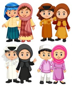 Four couple of muslim kids in traditional costumes Premium Vector