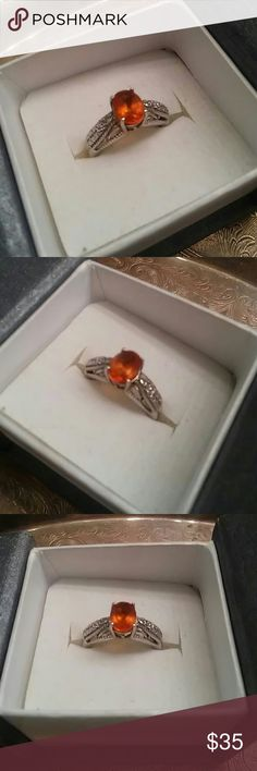 Tangerine Quartz 925 sterling Silver Size 6 All natural stone, size 6, 925 sterling silver 1cts Tangerine quartz. 925 sterling silver Jewelry Rings