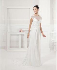 Robe de mariée col en v avec bretelles col ras du cou belle simple