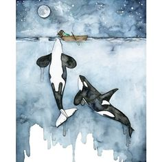 """Watercolor Orca and Girl Print Painting titled, """"Poseidon's Touch Orca... ❤ liked on Polyvore featuring home, home decor, wall art, matte painting, watercolor wall art, beach wall art, whale painting and whale wall art"""