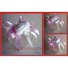 Confettata Nascita Battesimo Bimba Scatola Plex + Fiocco pois rosa + Gessetto Profumato Animaletti