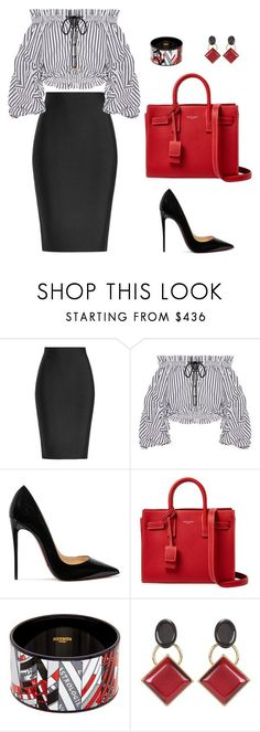"""""""Untitled #486"""" by nadiralorencia on Polyvore featuring Roland Mouret, Caroline Constas, Christian Louboutin, Yves Saint Laurent, Hermès and Marni"""