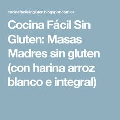 Cocina Fácil Sin Gluten: Masas Madres sin gluten (con harina arroz blanco e integral)