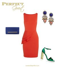 "Dress: Alice and Olivia $195 | Clutch: BCBG $98 | Earrings: Bauble Bar $36 | Shoes: Stella McCartney For more Wedding Guest inspiration check out the rest of our Perfect Guest boards and visit our ""What to Wear to a Wedding"" Pinterest board."