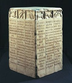 Roman farmers Calendar. Each side bears the names of three months of the year. For each month we can see, starting from the top: the number of days in it, the day in which the Nones(the day of the moons first quarter)falls; the duration of the day and night expressed in hours; the sign of the Zodiac; the protecting divinity; work to be attended to in the fields, and the most important festivities.