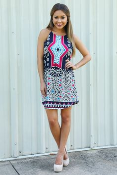 Mosaic Masterpiece Dress: Navy/Multi