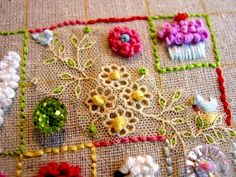Great idea on how to display how each stitch looks in use
