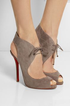 Christian Louboutin | Allegra 120 cutout suede sandals | http://www.euroshoesbox.com