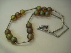 Art Deco WMF MYRA CRISTAL Iridescent Glass Bead Necklace