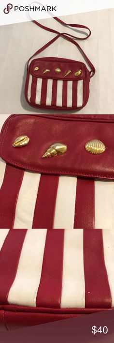 Vintage leather seashell striped handbag Vintage seashell leather   Made in Italy carla marchi Bags