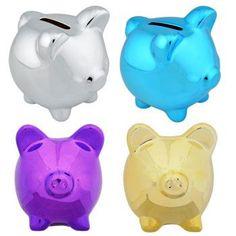 Metallic Plastic Piggy Bank
