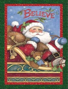 I Believe in Santa Claus Wall Panel Fabric 100% Cotton Christmas Susan Winget #Springs