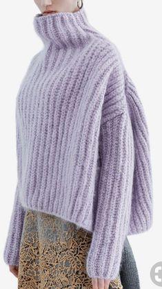 l´hiver mauve 👒 tricot knit pullover col roulé malva laine wool sweater Knitwear Fashion, Knit Fashion, Mohair Sweater, Wool Sweaters, Knitting Yarn, Hand Knitting, Diy Pullover, Big Knits, Knitting Designs