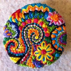 Freeform embroidery bright floral brooch by Lucismiles on Etsy