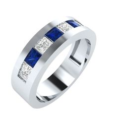 1.9 ct Blue Sapphire Band Engagement Two Tone Ring in 14kt Gold Over Silver #RegaaliaJewels #Band