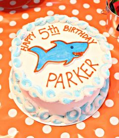 shark birthday party cake