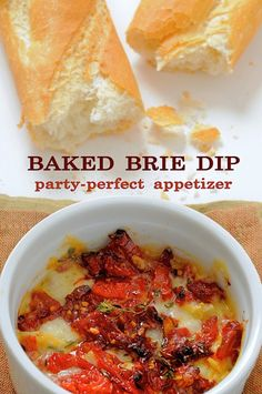 Easy baked brie dip recipe with sun dried tomatoes. It's delicious quick recipe for baked brie, flavors of sun dried tomato are awesome! Appetizer Dips, Yummy Appetizers, Appetizers For Party, Appetizer Recipes, Party Dips, Dip Recipes, Great Recipes, Cooking Recipes, Favorite Recipes